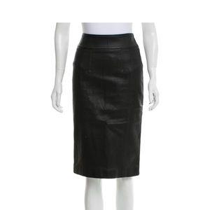 Burberry London Leather Stretch Pencil Skirt Black